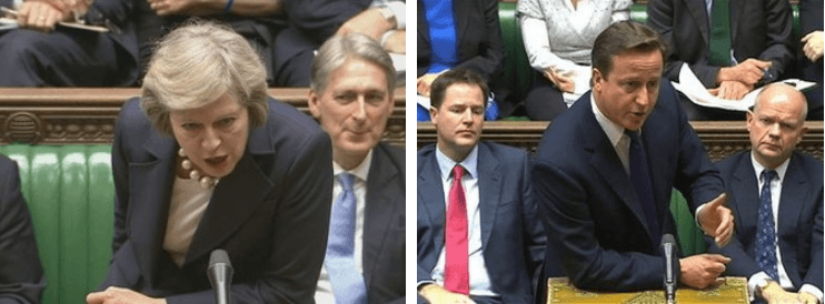 Theresa May and David Cameron in the House of Commons