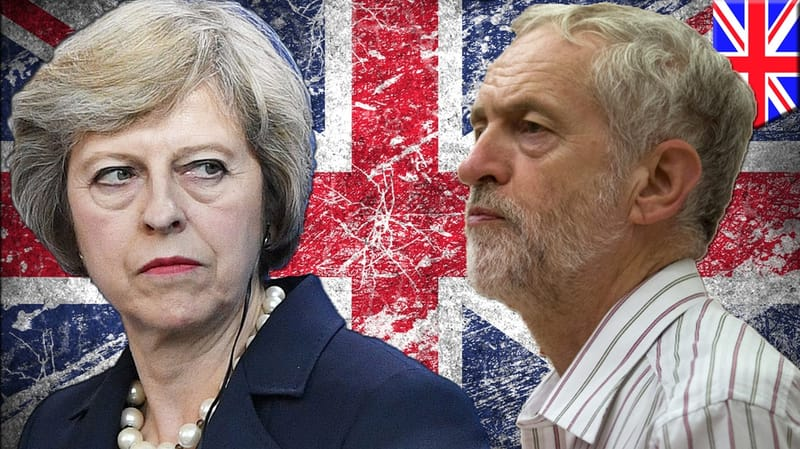 Theresa May and Jeremy Corbyn superimposed in front of a Union Jack