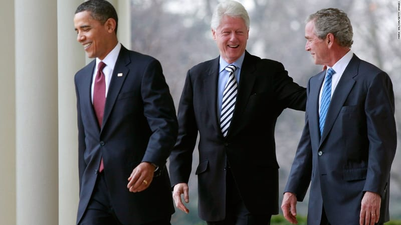 Former US presidents talking happily to each other