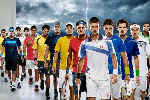 Famous tennis players in a lineup